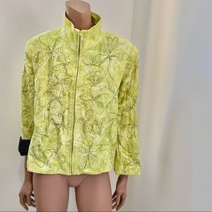 Anage vintage neon green embroidered jacket L